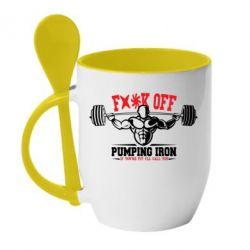 Кружка с керамической ложкой Iron Pumping - FatLine