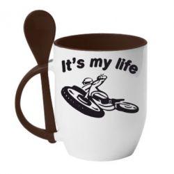 Кружка с керамической ложкой It's my moto life - FatLine
