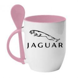 Кружка с керамической ложкой Jaguar - FatLine