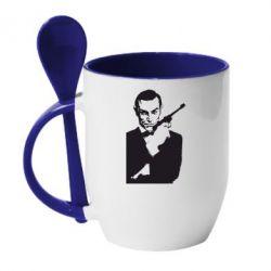 Кружка с керамической ложкой James Bond - FatLine