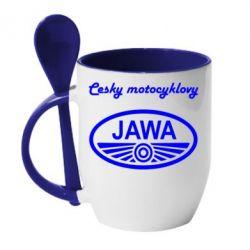 Кружка с керамической ложкой Java Cesky Motocyclovy - FatLine
