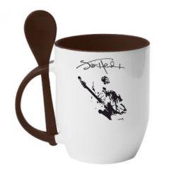Кружка с керамической ложкой Jimi Hendrix афтограф - FatLine