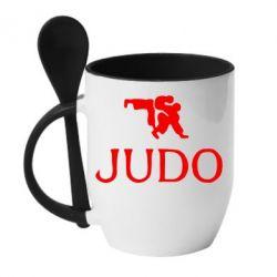 Кружка с керамической ложкой Judo - FatLine