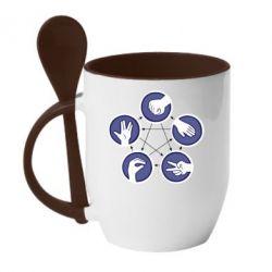 Кружка с керамической ложкой Камень, ножницы, бумага, ящерица, спок - FatLine