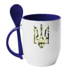 Кружка с керамической ложкой Камуфляжный герб Украины - FatLine