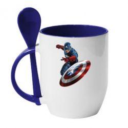 Кружка с керамической ложкой Капитан Америка - FatLine