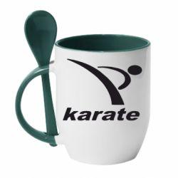 Кружка с керамической ложкой Karate - FatLine