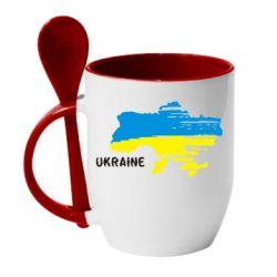 Кружка с керамической ложкой Карта України з написом Ukraine - FatLine