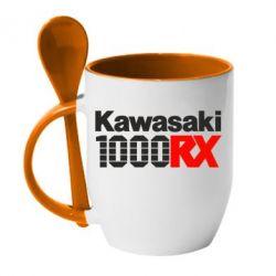 Кружка с керамической ложкой Kawasaki 1000RX - FatLine