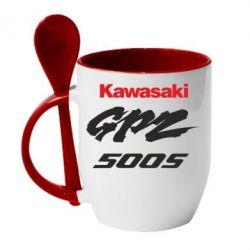 Кружка с керамической ложкой Kawasaki GPZ500S - FatLine