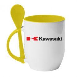 Кружка с керамической ложкой Kawasaki Logo - FatLine