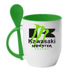 Кружка с керамической ложкой Kawasaki Monster Energy - FatLine