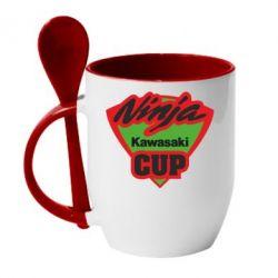 Кружка с керамической ложкой Kawasaki Ninja Cup - FatLine