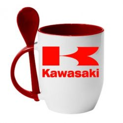 Кружка с керамической ложкой Kawasaki - FatLine