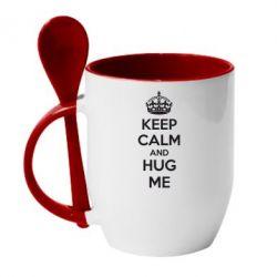 Кружка с керамической ложкой KEEP CALM and HUG ME - FatLine