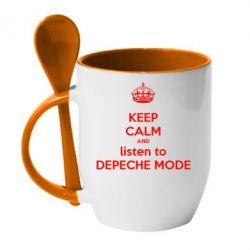 Кружка с керамической ложкой KEEP CALM and LISTEN to DEPECHE MODE - FatLine
