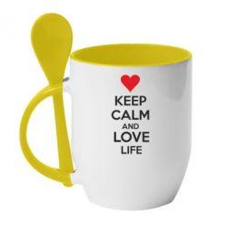 Кружка с керамической ложкой KEEP CALM and LOVE LIFE - FatLine