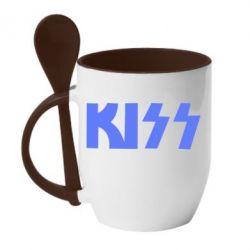 Кружка с керамической ложкой Kiss Logo - FatLine