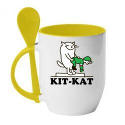 Кружка с керамической ложкой Kit-Kat - FatLine