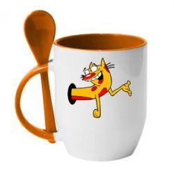 Кружка с керамической ложкой Кіт - FatLine