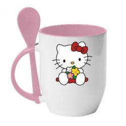 Кружка з керамічною ложкою Kitty з букетиком - FatLine