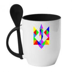 Кружка с керамической ложкой Кольоровий герб - FatLine