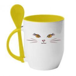 Кружка с керамической ложкой Кошачек - FatLine