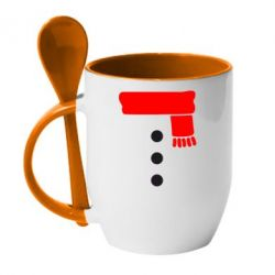 Кружка с керамической ложкой Костюм снеговика - FatLine