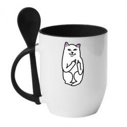 Кружка с керамической ложкой Кот с факом - FatLine