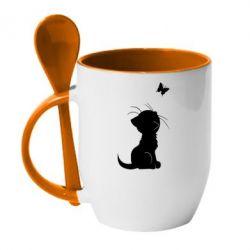 Кружка с керамической ложкой Котик с бабочкой - FatLine