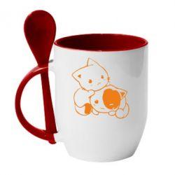 Кружка з керамічною ложкою кошенята - FatLine