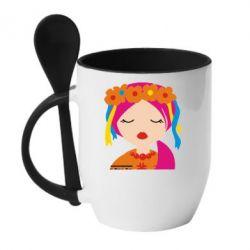 Кружка с керамической ложкой Красива україночка - FatLine