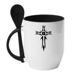 Кружка с керамической ложкой Крест 2 - FatLine