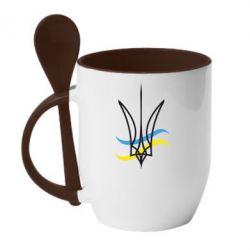 Кружка с керамической ложкой Кумедний герб України - FatLine
