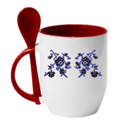 Кружка с керамической ложкой Квітковий орнамент - FatLine