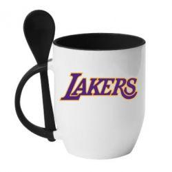 Кружка с керамической ложкой LA Lakers - FatLine