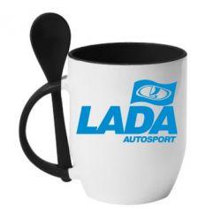 Кружка с керамической ложкой Lada Autosport - FatLine