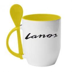 Кружка с керамической ложкой Lanos Logo - FatLine