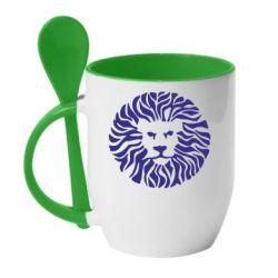 Кружка с керамической ложкой лев - FatLine