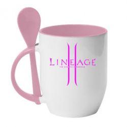 Кружка с керамической ложкой Lineage ll - FatLine