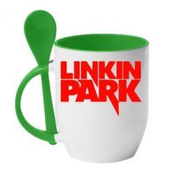 Кружка с керамической ложкой Линкин Парк - FatLine
