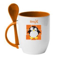 Кружка с керамической ложкой Linux pinguine - FatLine