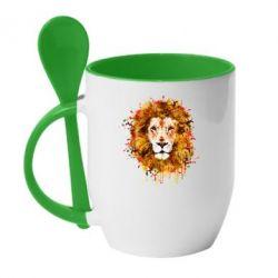 Кружка с керамической ложкой Lion Art - FatLine