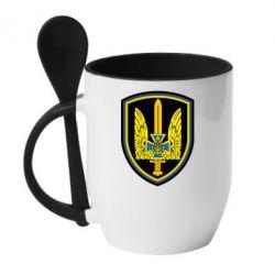 Кружка с керамической ложкой Логотип Азов - FatLine