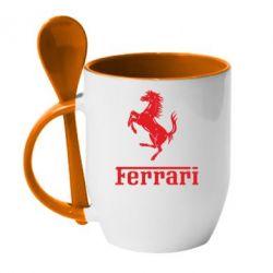 Кружка с керамической ложкой логотип Ferrari - FatLine
