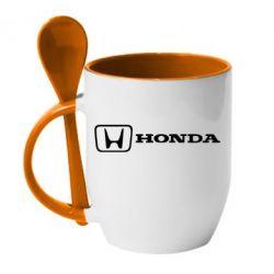 Кружка с керамической ложкой Логотип Honda - FatLine