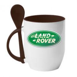 Кружка с керамической ложкой Логотип Land Rover - FatLine