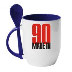 Кружка с керамической ложкой Made in 90 - FatLine