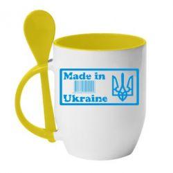 Кружка с керамической ложкой Made in Ukraine штрих-код - FatLine