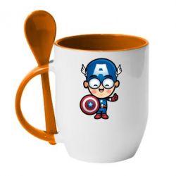 Кружка с керамической ложкой Маленький Капитан Америка - FatLine